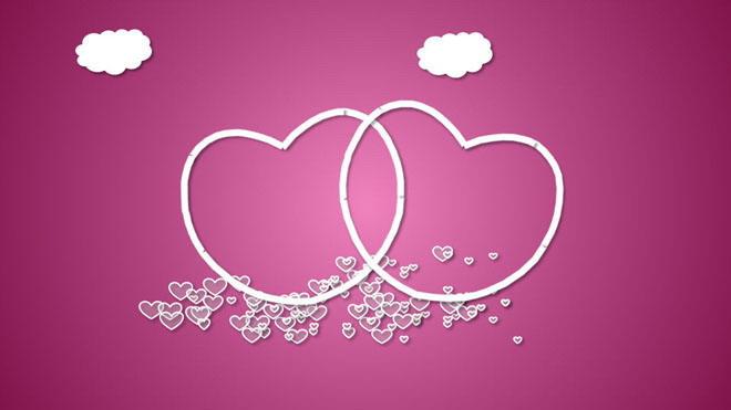 粉色爱心背景的动态情人节幻灯片模板