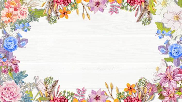 6張精致木紋與水彩花卉PPT背景圖片