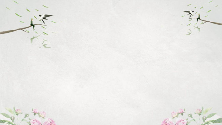 五張清新水彩春天花卉PPT背景圖片