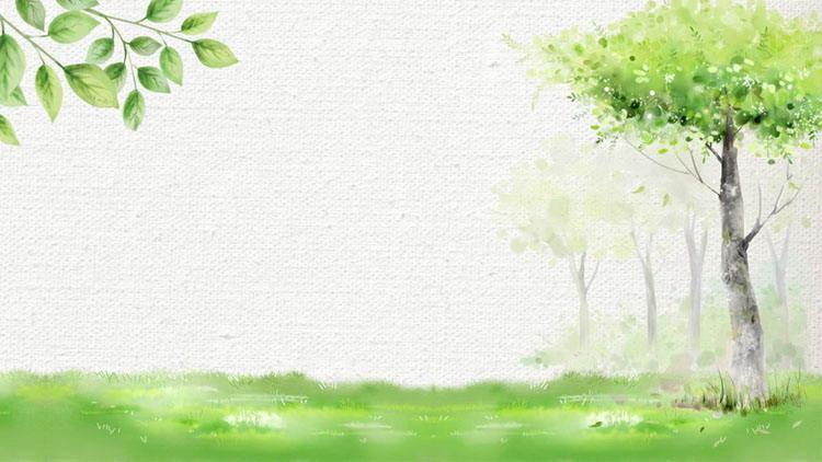清新绿色水彩树木叶子PPT背景图片
