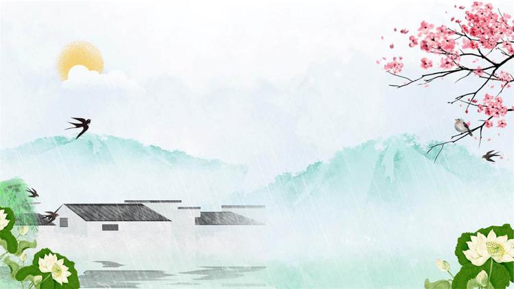 清新水墨中国风春天主题PPT背景图片