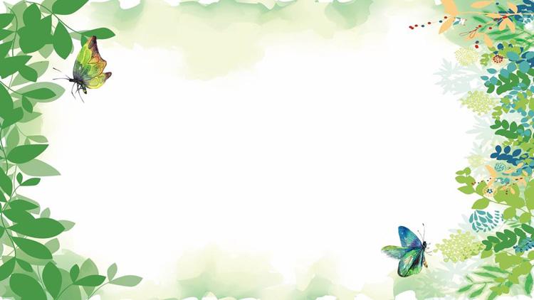 四张清新绿色植物叶子PPT背景图片