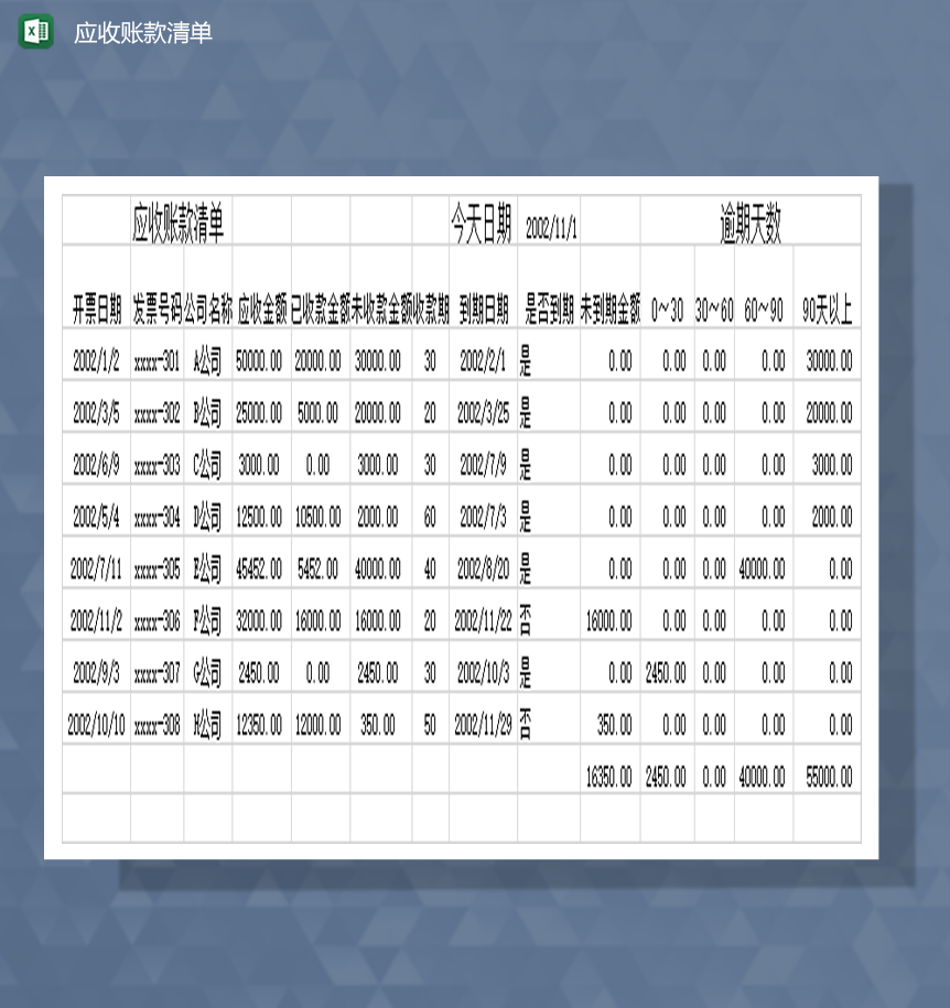 财务报表应收账款清单资金费用明细表Excel模板